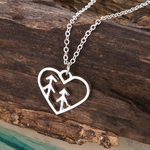 Nature Lover Heart and Pine Trees Necklace - Giving Gecko Giving Back To Animal Rescue Charities