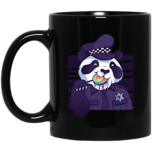 Panda Police Officer 11 oz. Black Mug - Giving Gecko Giving Back To Animal Rescue Charities