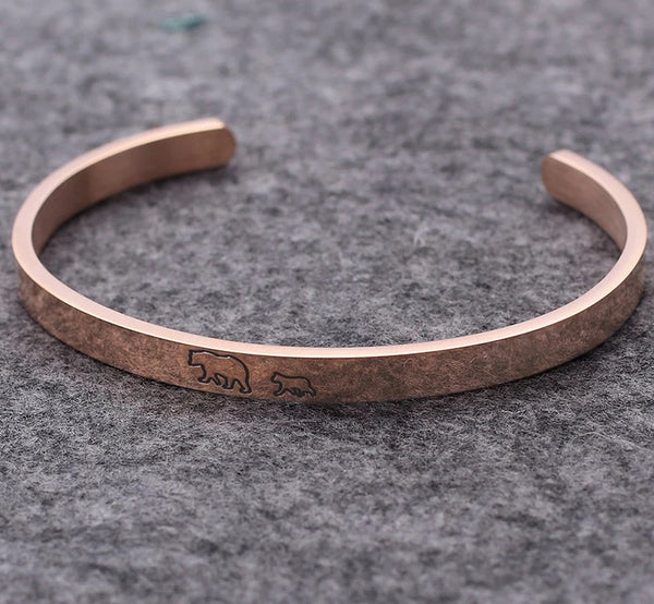 Gifts For Mom - Mother Mama Bear & Cubs 18K Rose Gold Bracelets