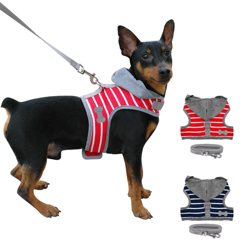 Dog Harness - Small Toy Dog Or Puppy Hoodie Dog Harness & Leash