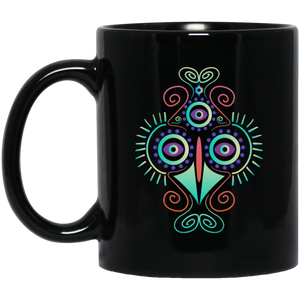 Psychedelic Chicken 11 oz. Black Mug - Giving Gecko Giving Back To Animal Rescue Charities