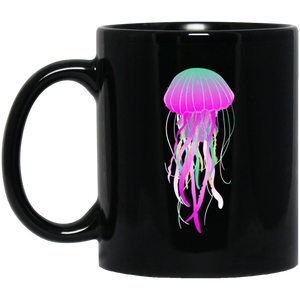 Psychedelic Jelly Fish 11 oz. Black Mug - Giving Gecko Giving Back To Animal Rescue Charities