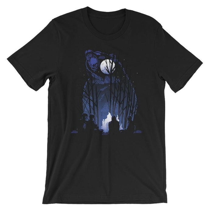 Roaring Grizzly Bear Campfire T-Shirt - Giving Gecko Giving Back To Animal Rescue Charities