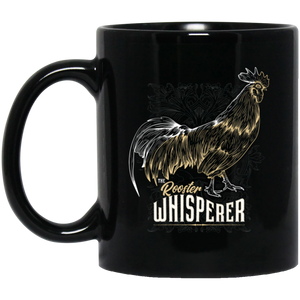 Rooster Whisperer 11 oz. Black Mug - Giving Gecko Giving Back To Animal Rescue Charities
