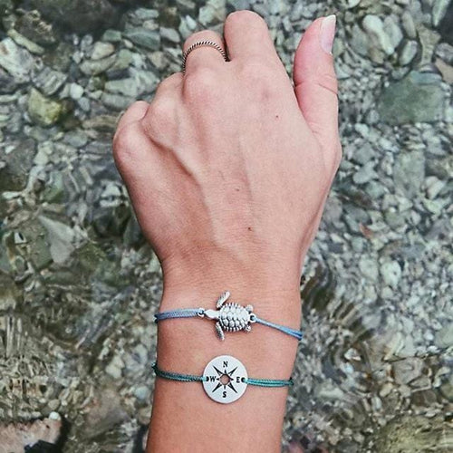 Sea Turtle Compass Rope Boho Bracelets (2Pcs/Set) - Giving Gecko Giving Back To Animal Rescue Charities