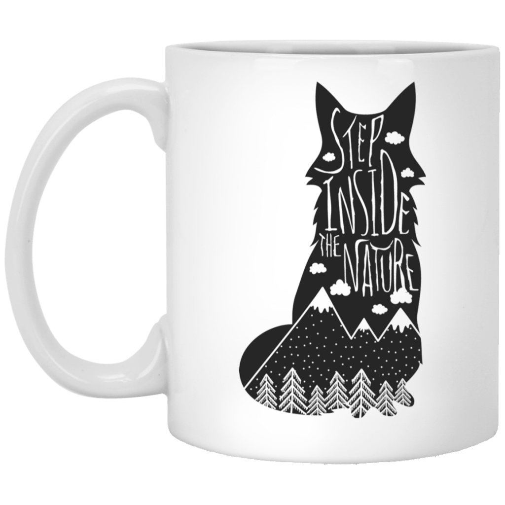 Step Inside The Nature Wolf 11 oz. White Mug - Giving Gecko Giving Back To Animal Rescue Charities
