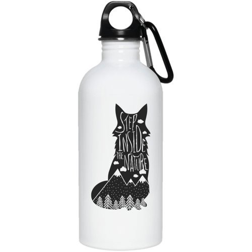 Step Inside The Nature Wolf 20 oz. Stainless Steel Water Bottle - Giving Gecko Giving Back To Animal Rescue Charities
