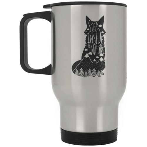 Step Inside The Nature Wolf Silver Stainless Travel Mug - Giving Gecko Giving Back To Animal Rescue Charities