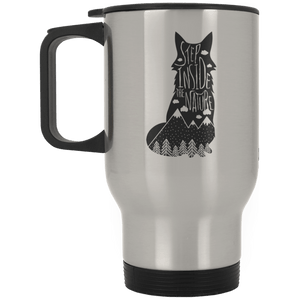 Step Inside The Nature Fox Travel Mug Travel Mugs - Giving Gecko Giving Back To Animal Rescue Charities