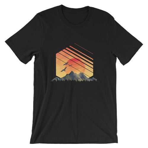 Sunset and Mountains Geometric T-Shirt T-Shirts - Giving Gecko Giving Back To Animal Rescue Charities