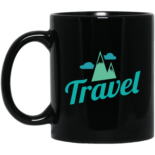 Travel Mountains 11 oz. Black Mug - Giving Gecko Giving Back To Animal Rescue Charities