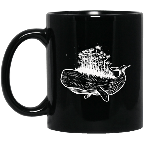 Whale Island 11 oz. Black Mug - Giving Gecko Giving Back To Animal Rescue Charities