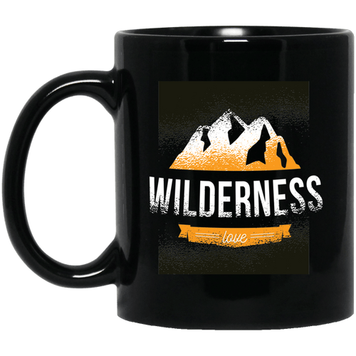 Wilderness Love Mountains 11 oz. Black Mug - Giving Gecko Giving Back To Animal Rescue Charities