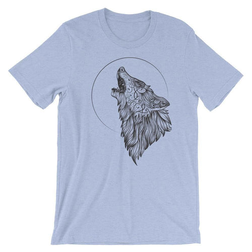 Wolf Howling At The Moon Shirt Tribal Design T-Shirts - Giving Gecko Giving Back To Animal Rescue Charities