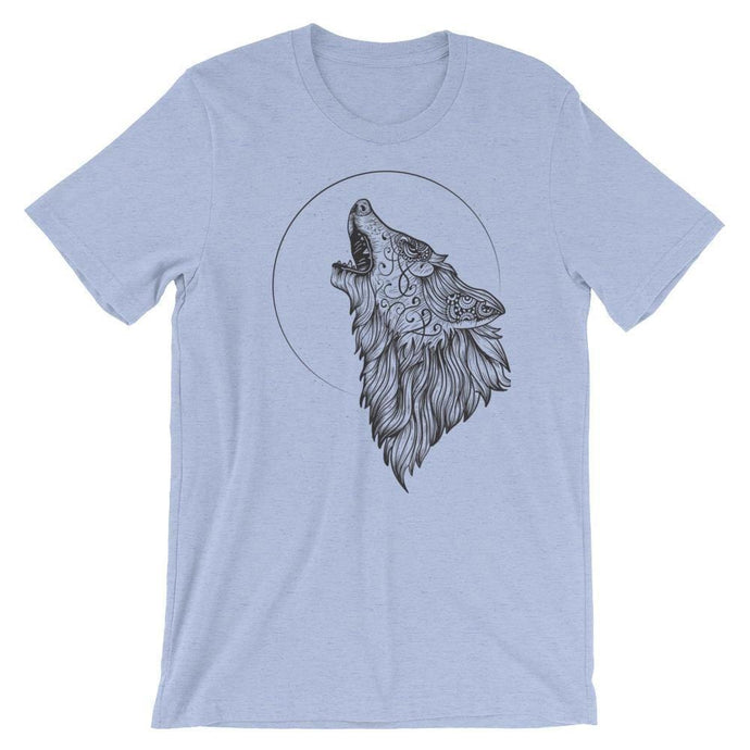 Wolf Howling At The Moon T-Shirt T-Shirts - Giving Gecko Giving Back To Animal Rescue Charities