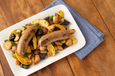 Apple Maple Sausage over Roasted Potatoes