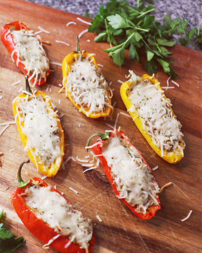 Apple Maple Turkey Sausage and Cheese Stuffed Peppers