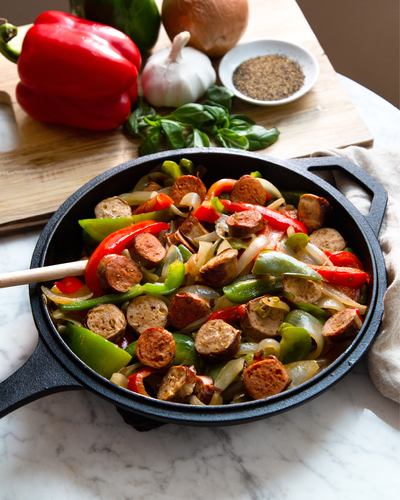 Sweet & Hot Italian Turkey Sausages with Onions and Peppers