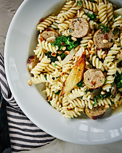 Lemon & Herb Fusilli with Broccoli Rabe, Fennel & Turkey Sausage