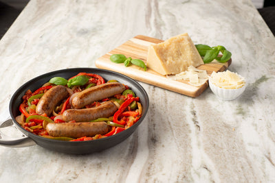 Hot Italian Sausage over Bell Peppers