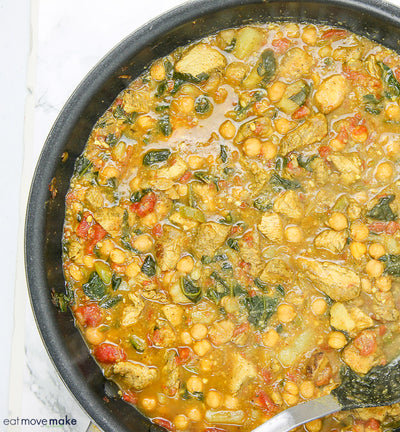 Spicy Masala Turkey Strips with Chickpea & Spinach Curry