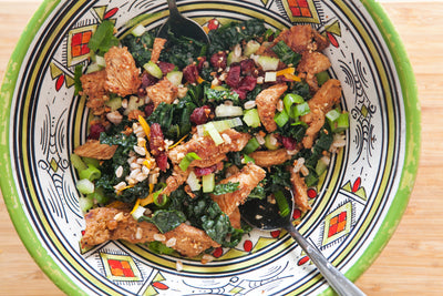 Smoky & Sweet Chili Turkey Strips Salad with Pecans & Cranberries