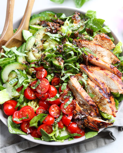 Tomato & Basil Turkey Salad with Balsamic-Shallot Herb Vinaigrette