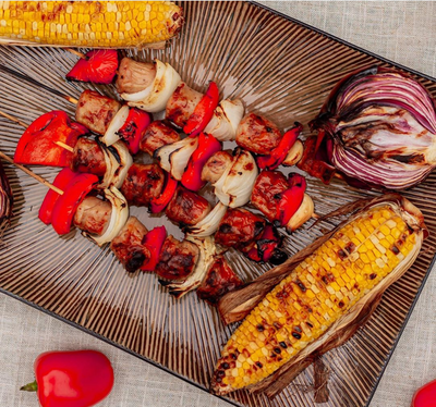 Smoky & Sweet Chili Turkey Sausage Kabobs With Grilled Veggies