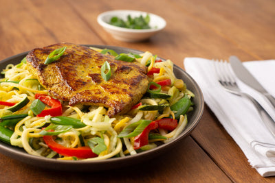 Spicy Masala Cutlets with Thai Green Curry Squash Noodles