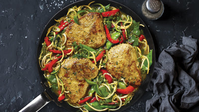 Spicy Masala Turkey Steaks over Coconut Curry Squash Noodles