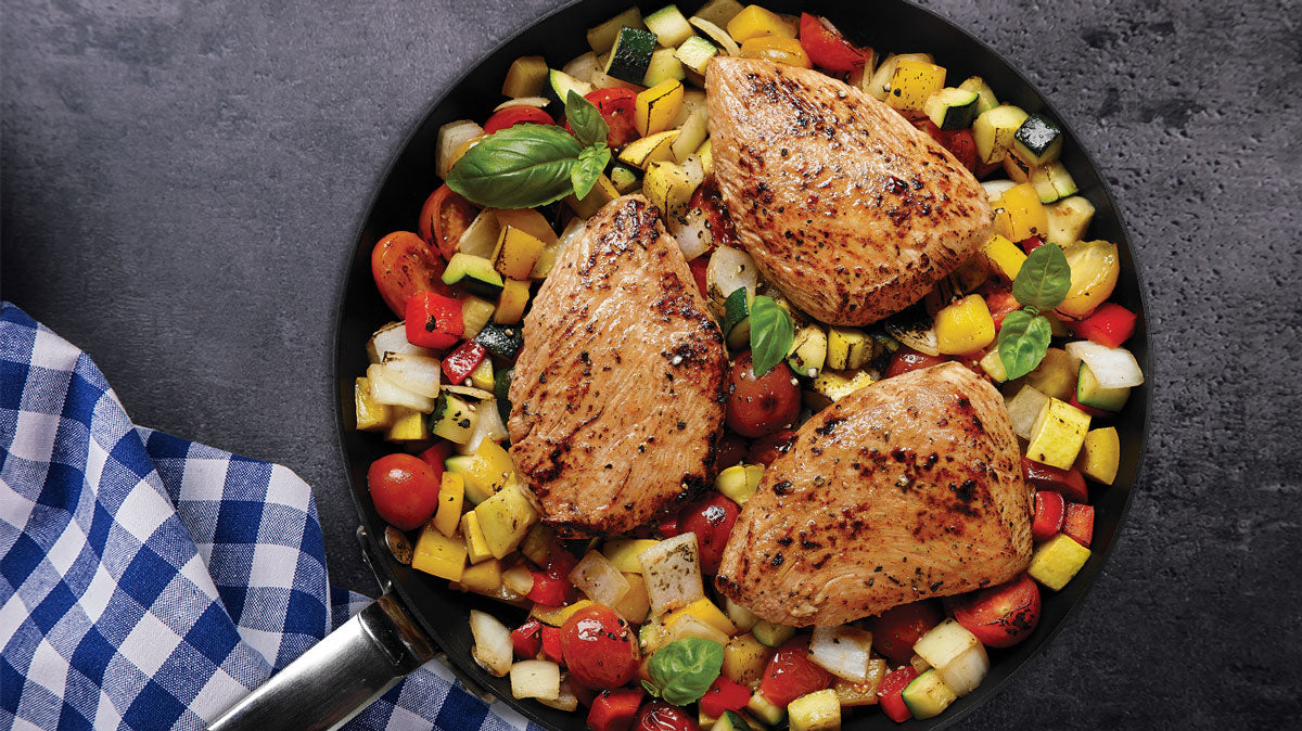 Tomato & Basil Turkey Steaks Over Summer Harvest Hash