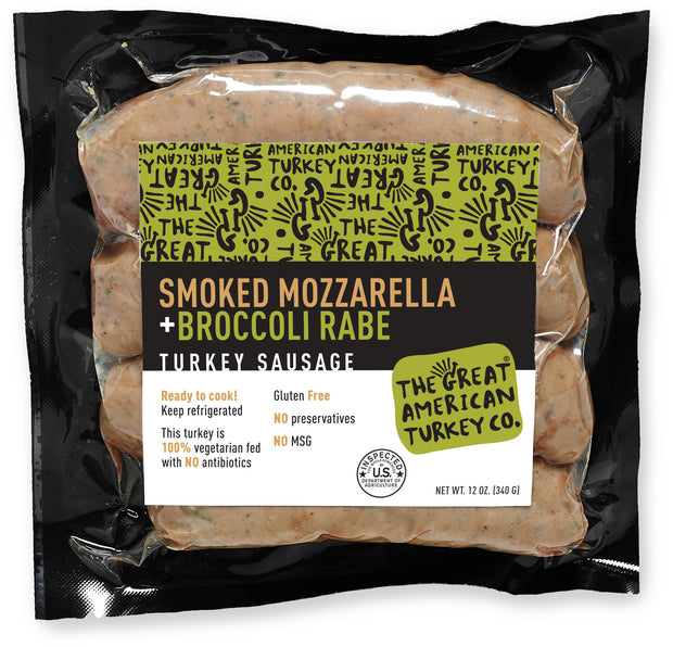 Smoked Mozzarella + Broccoli Rabe Turkey Sausage