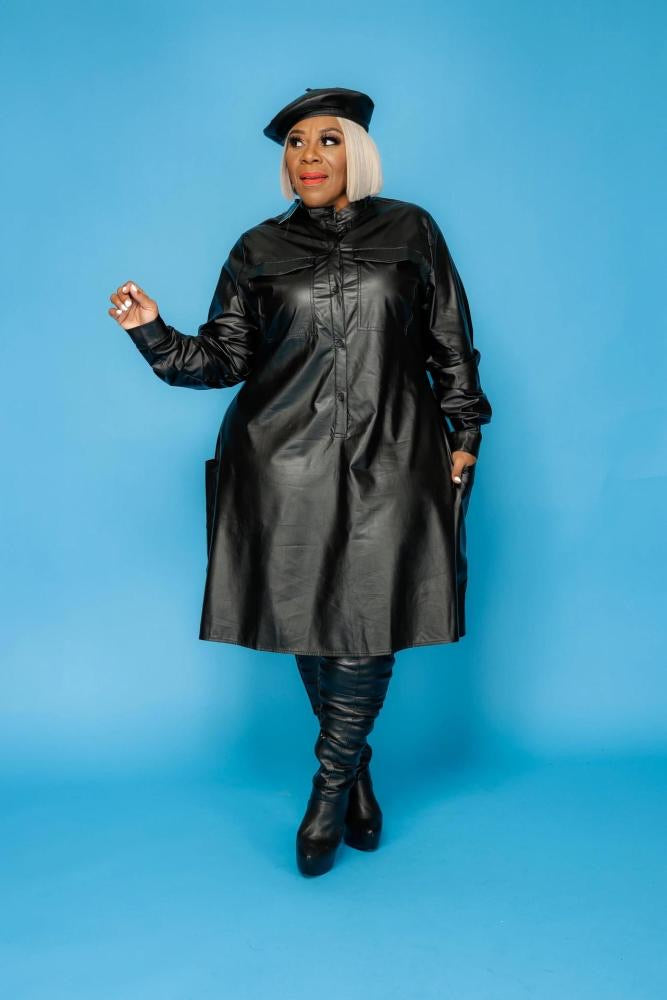 Fly Leather Long Sleeve Dress