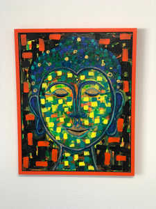 "Glimmer  Acrylic on Canvas  Artwork -  24"" x 30""  Overall – 25 ½"" x 31 ½""  Contemporary Artist Lisa Watts is known for her colorful works featured at art festivals, shows and galleries throughout California.  This piece, Glimmer, features a Buddha style bust with splashes or electric orange, yellow, and blue.  Painted in 2017 exclusively for TooGays, it is signed on the back and mounted on canvas in a reclaimed wood frame.  Glimmer is Too likely to brighten up any space while bringing a smile to your face!"