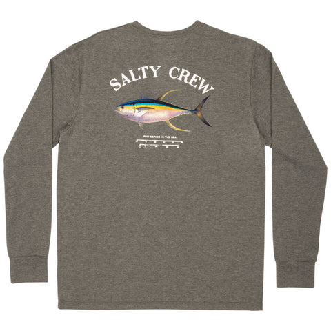 Salty Crew Ahi Mount Tech LS Tee in Charcoal