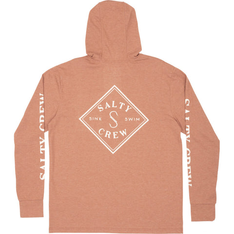 Salty Crew TIPPET POCKET HOOD TECH TEE in Clay