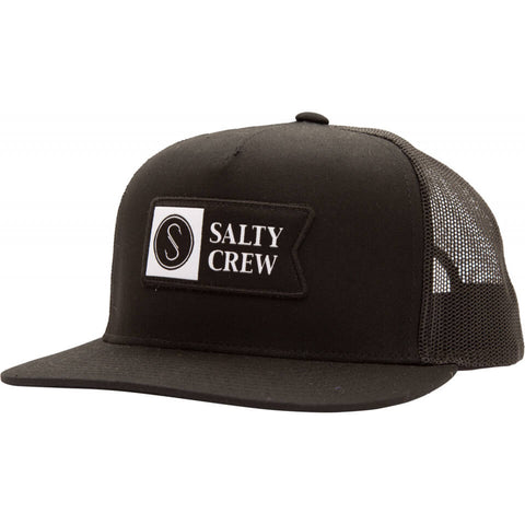 Salty Crew Alpha Twill Trucker in Black