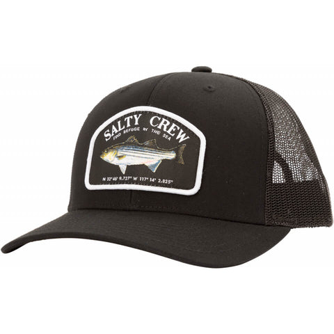 Salty Crew STRIPER RETRO TRUCKER in Black