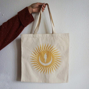 'Moon/Sun/Woman' Cotton Canvas Tote