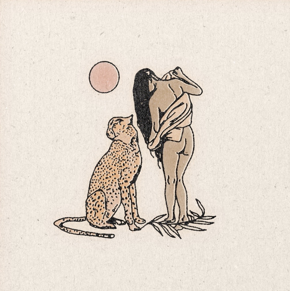 'Cheetah and Lady' Print
