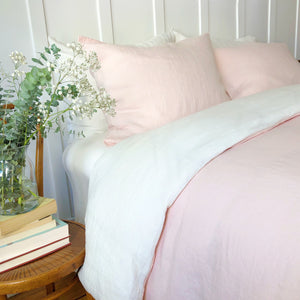 Duvet Cover - Powder Rose & Ivory