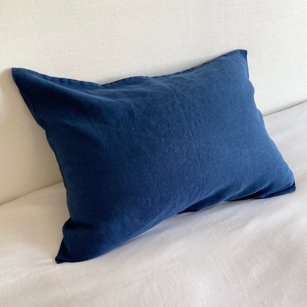 Linen Pillow Case - Navy Blue