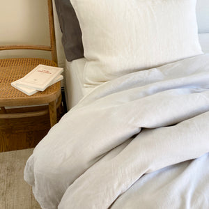 Duvet Cover - Light Grey & Ivory
