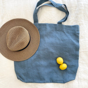 Linen Tote Bag - Blue Grey