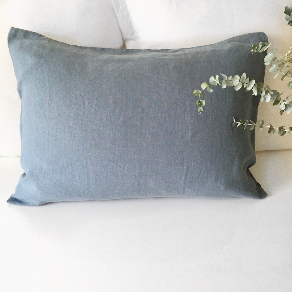 Linen Pillow Case - Blue Grey