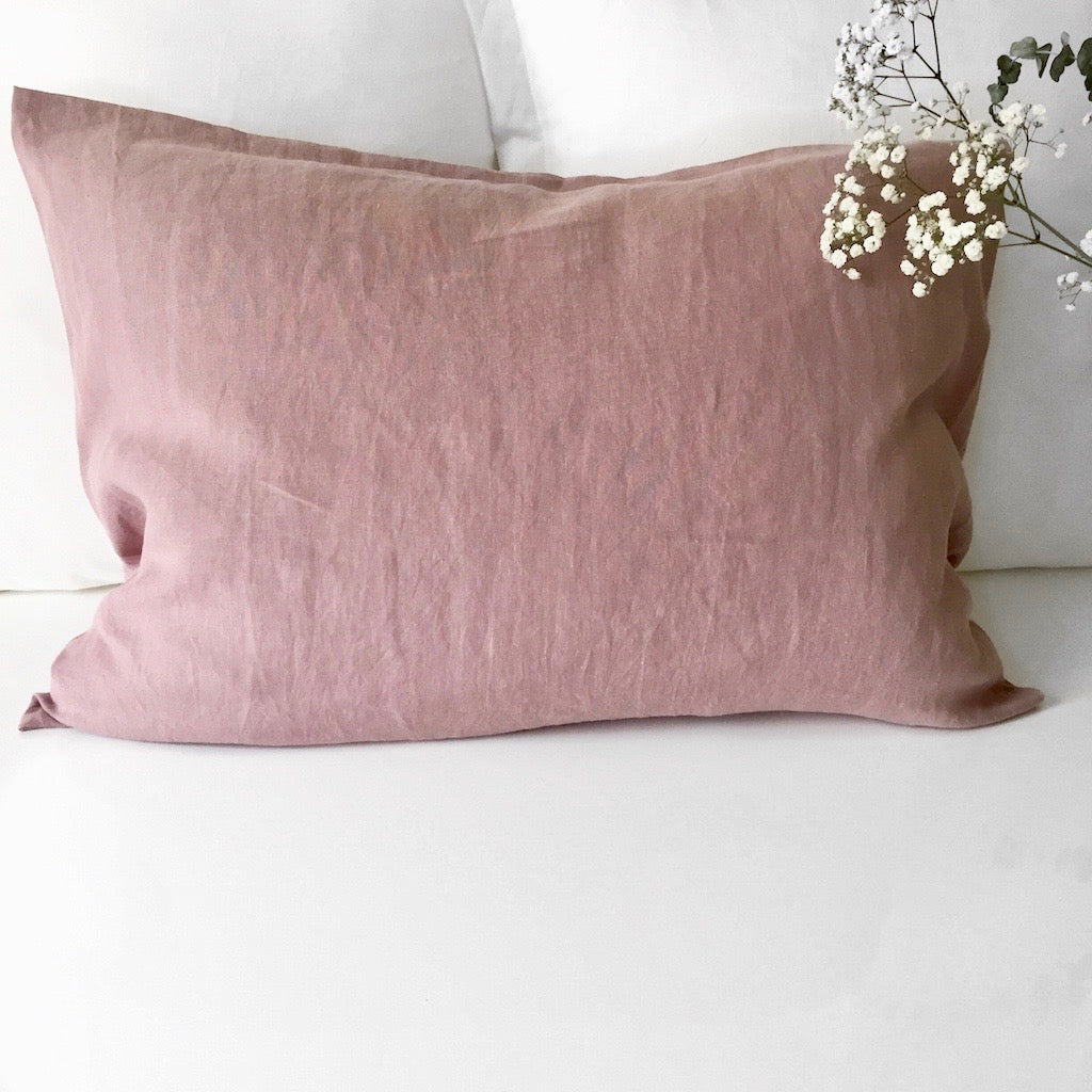 Linen Pillow Case - Antique Rose