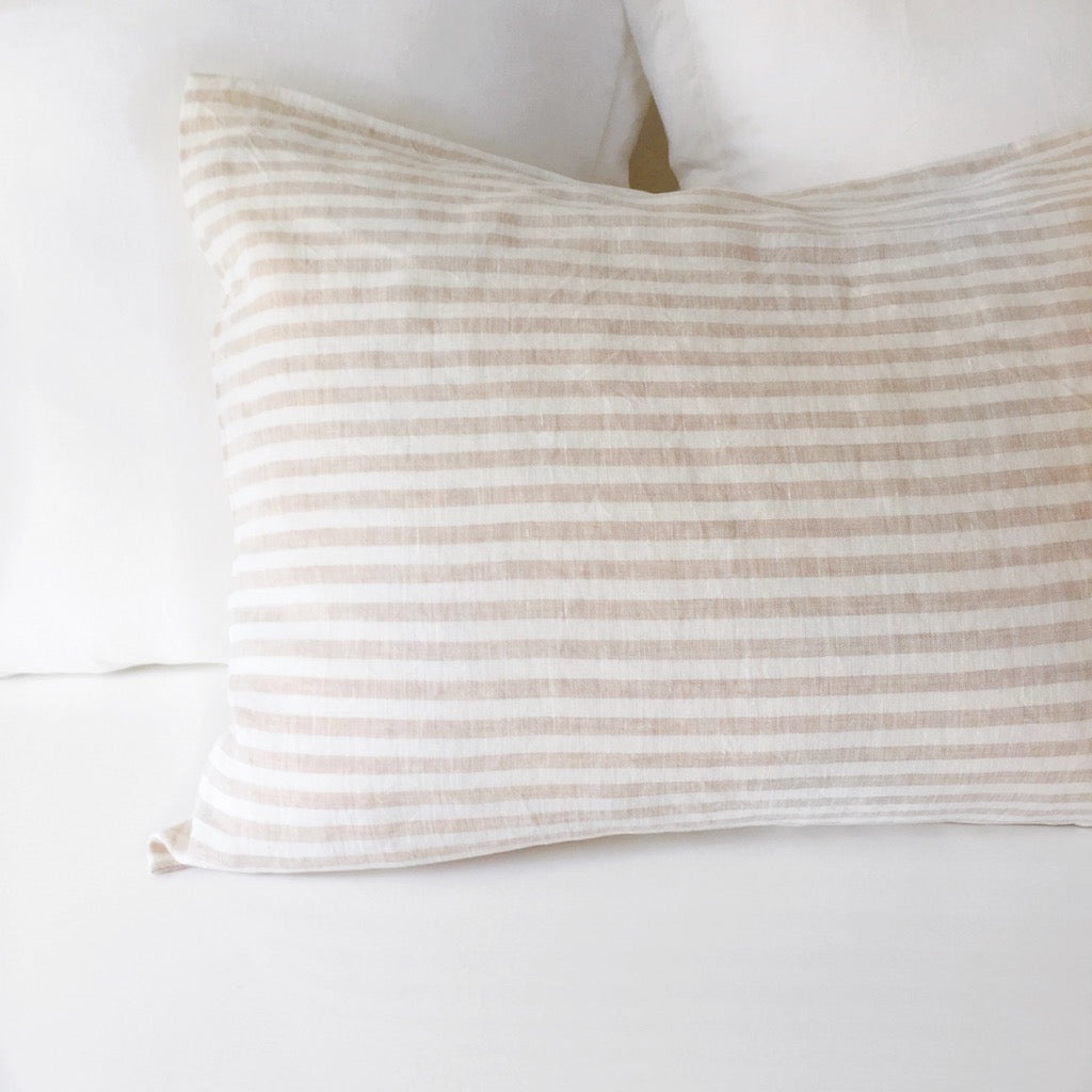 Linen Pillow Case - Beige Stripe