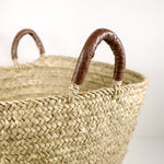 Woven Market Basket Leather Handles