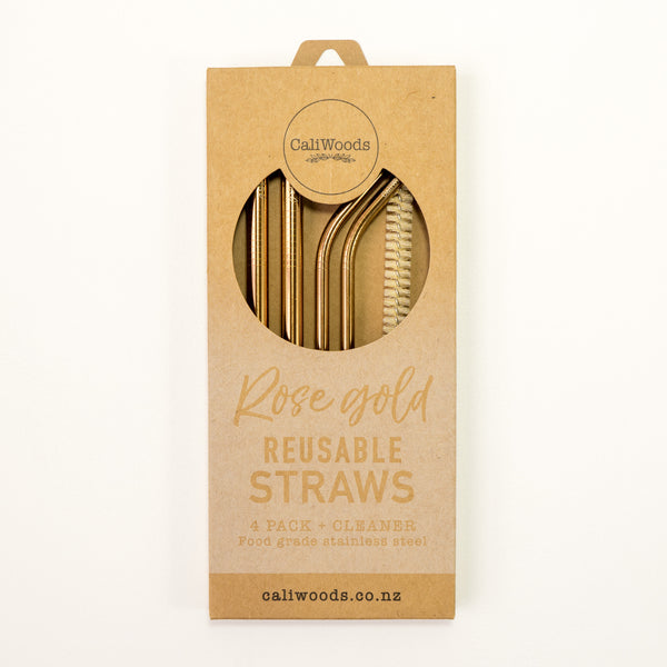 Rose Gold Metal Straw Mixed Pack