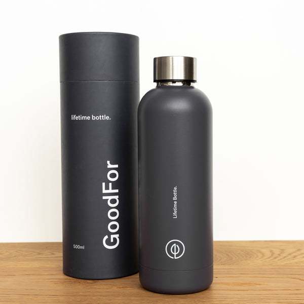 Charcoal Stainless Steel Reusable drink bottle NZ GoodFor Store lifetime bottle Plastic Free